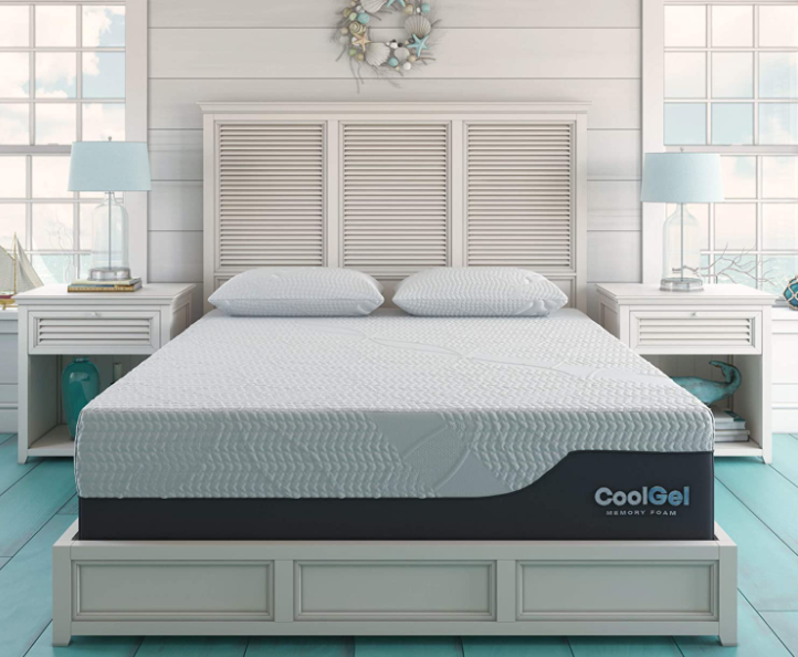 Classic Brands Cool Gel Chill Memory Foam 14-Inch Mattress with 2 BONUS Pillows  CertiPUR-US Certified  Bed-in-a-Box, Queen
